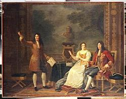 Julie philipaut racine lisant athalie devant louis xiv et madame de maintenon